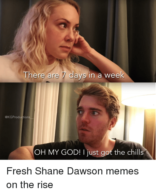 Shane Dawson Memes: There are 7 days in a week  @KGProductions  OH MY GOD! I just got the chills
