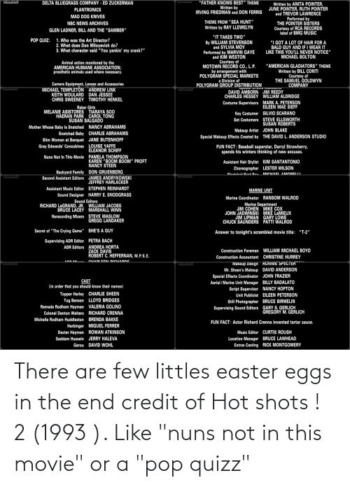"Littles: There are few littles easter eggs in the end credit of Hot shots ! 2 (1993 ). Like ""nuns not in this movie"" or a ""pop quizz"""