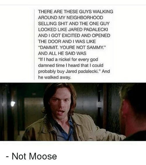 """andie: THERE ARE THESE GUYS WALKING  AROUND MY NEIGHBORHOOD  SELLING SHIT AND THE ONE GUY  LOOKED LIKE JARED PADALECKI  AND I GOT EXCITED AND OPENED  THE DOOR ANDI WAS LIKE  """"DAMMIT. YOURE NOT SAMMY""""  AND ALL HE SAID WAS  """"If I had a nickel for every god  damned time I heard that I could  probably buy Jared padalecki."""" And  he walked away. - Not Moose"""