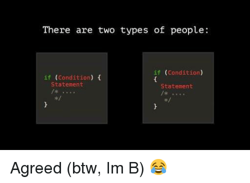 m&b: There are two types of people  if (Condition)  if (Condition) f  Statement  Statement  x: Agreed (btw, Im B) 😂