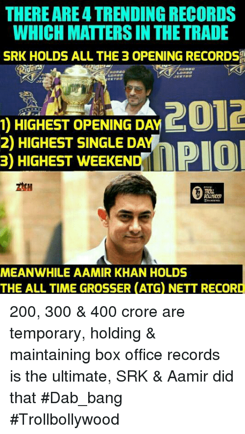 Dab: THERE ARE4 TRENDING RECORDS  WHICH MATTERS IN THE TRADE  SRK HOLDS ALL THE 3 OPENING RECORDS  JEE TBD  1) HIGHEST OPENING DA  Cu  2) HIGHEST SINGLE DA  MPIO  3) HIGHEST WEEKEND  MEANWHILE AAMIR KHAN HOLDS  THE ALL TIME GROSSER (ATG NETT RECORD 200, 300 & 400 crore are temporary,  holding & maintaining box office records is the ultimate, SRK & Aamir did that #Dab_bang   #Trollbollywood