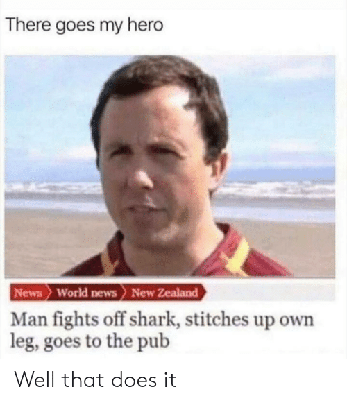 there goes my hero: There goes my hero  News World news> New Zealand  Man fights off shark, stitches up own  leg, goes to the pub Well that does it