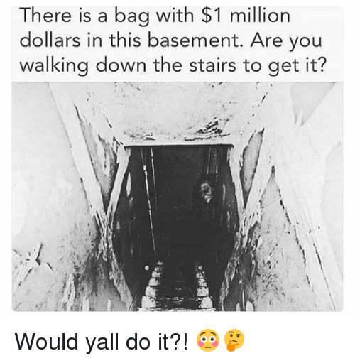 Memes, 🤖, and Down: There is a bag with $1 million  dollars in this basement. Are you  walking down the stairs to get it? Would yall do it?! 😳🤔