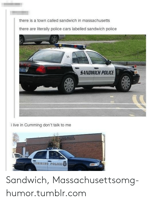 cars: there is a town called sandwich in massachusetts  there are literally police cars labelled sandwich police  36  EMENIMY  SANDWICH POLICE  i live in Cumming don't talk to me  OUMNING POLIGE Sandwich, Massachusettsomg-humor.tumblr.com