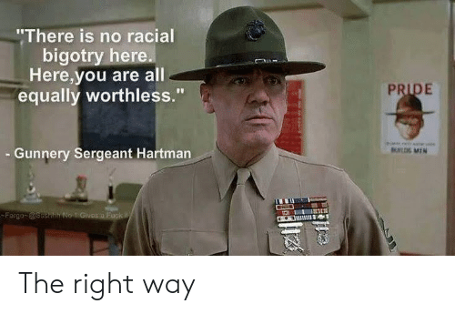 "Racial: ""There is no racial  bigotry here.  Here,you are all  equally worthless.""  PRIDE  Gunnery Sergeant Hartman  UL MIN  Fargo @ssehh No 1 Givos a Fuck W The right way"