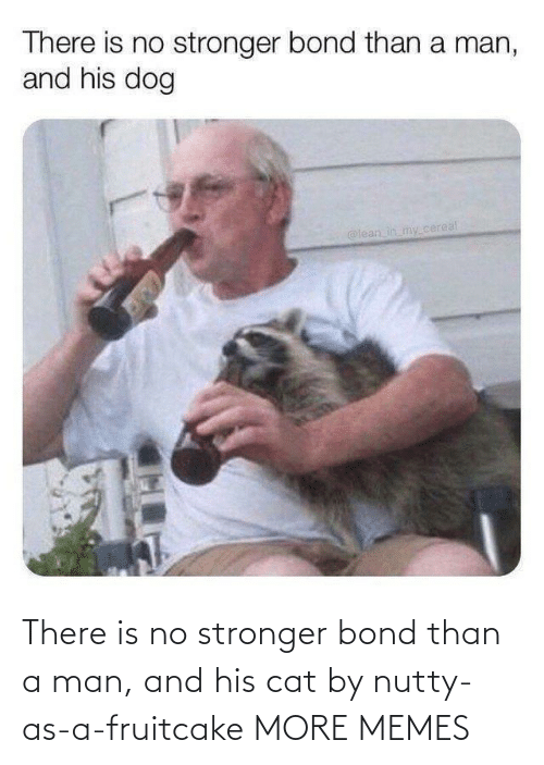 A Man: There is no stronger bond than a man, and his cat by nutty-as-a-fruitcake MORE MEMES