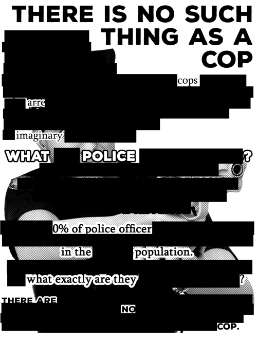 arr: THERE IS NO SUCH  THING  CODS  arr  imaginary  WHAT  POLICE  0% of police offi  cer  in the  population.  what'exactlvare thev  COP