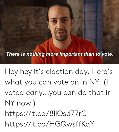i voted: There is nothing more important than to vote. Hey hey it's election day. Here's what you can vote on in NY! (I voted early...you can do that in NY now!) https://t.co/8lIOsd77rC https://t.co/HGQwsffKqY