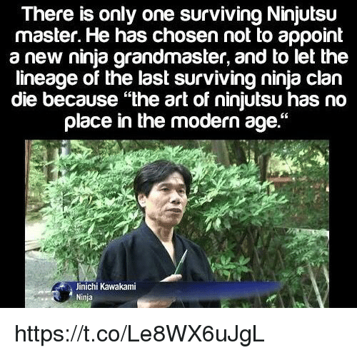 """Memes, Ninja, and Only One: There is only one surviving Ninjutsu  master. He has chosen not to appoint  a new ninja grandmaster, and to let the  lineage of the last surviving ninja clan  die because """"the art of ninjutsu has no  place in the modern age.""""  Jinichi Kawakami  Ninja https://t.co/Le8WX6uJgL"""