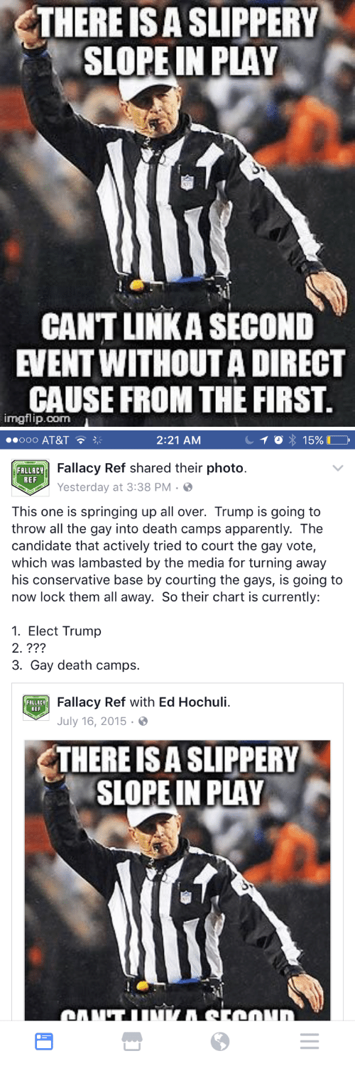 Ed Hochuli: THERE ISA SLIPPERY  SLOPE IN PLAY  CANT LINKA SECOND  EVENT WITHOUT A DIRECT  CAUSE FROM THE FIRST.  imgflip.com   000 AT&T  2:21 AM  Fallacy Ref shared their photo.  Yesterday at 3:38 PM  FOLLACT  REF  This one is springing up all over. Trump is going to  throw all the gay into death camps apparently. The  candidate that actively tried to court the gay vote,  which was lambasted by the media for turning away  his conservative base by courting the gays, is going to  now lock them all away. So their chart is currently:  1. Elect Trump  2. ???  3. Gay death camps.  Fallacy Ref with Ed Hochuli.  July 16, 2015.  FALLACY  REF  THERE IS A SLIPPERY  SLOPE IN PLAY