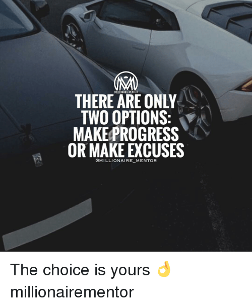 Memes, Progressive, and 🤖: THERE MILLIONAIRE MENTOR  ONLY  TWO OPTIONS  MAKE PROGRESS  OR MAKE EXCUSES  @MILLIONAIRE MENTOR The choice is yours 👌 millionairementor