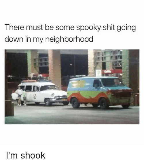 Im Shook: There must be some spooky shit going  down in my neighborhood I'm shook