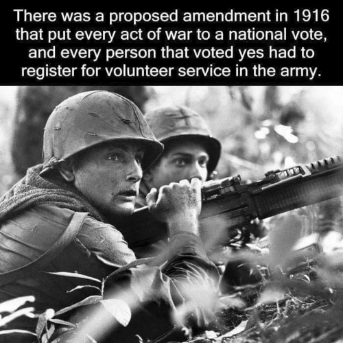 Memes, Army, and Acting: There was a proposed amendment in 1916  that put every act of war to a national vote,  and every person that voted yes had to  register for volunteer service in the army.