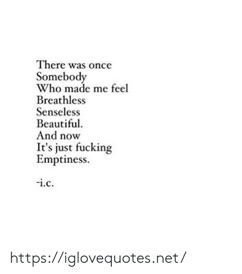 senseless: There was once  Somebody  Who made me feel  Breathless  Senseless  Beautiful  And now  just fucking  Emptiness.  i.c https://iglovequotes.net/