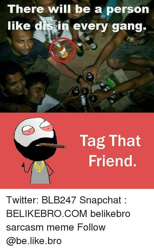 gangs: There will be a person  like dissin every gang.  Tag That  Friend Twitter: BLB247 Snapchat : BELIKEBRO.COM belikebro sarcasm meme Follow @be.like.bro