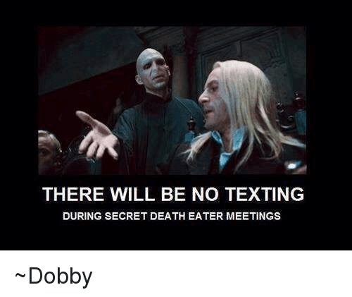 No Text: THERE WILL BE NO TEXTING  DURING SECRET DEATH EATER MEETINGS ~Dobby