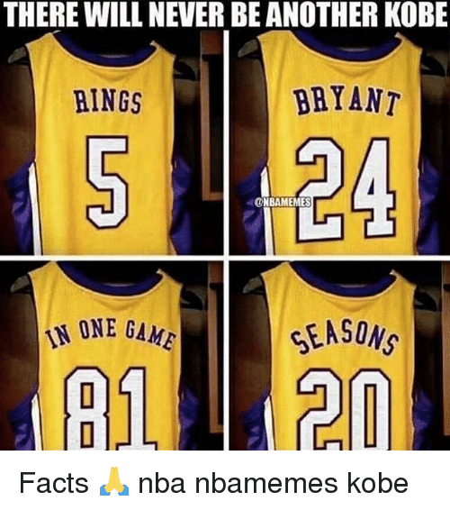 Basketball, Facts, and Nba: THERE WILL NEVER BE ANOTHER KOBE  RINGS  BRYANT  ONBAMEMES  NONE GAME  914120 Facts 🙏 nba nbamemes kobe