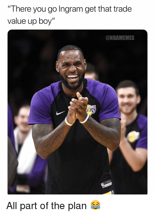 """ingram: There you go Ingram get that trade  value up boy""""  @NBAMEMES All part of the plan 😂"""