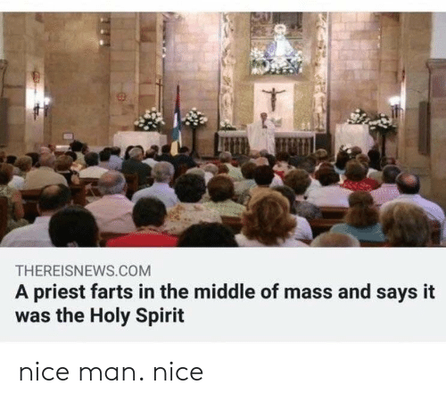Nice Man: THEREISNEWS.COM  A priest farts in the middle of mass and says it  was the Holy Spirit nice man. nice