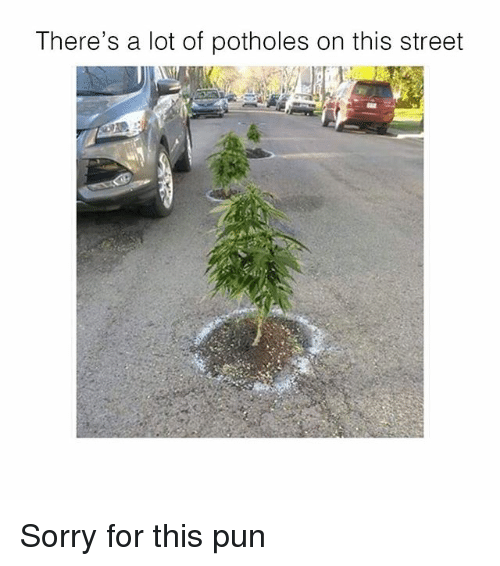 Memes, Sorry, and 🤖: There's a lot of potholes on this street Sorry for this pun