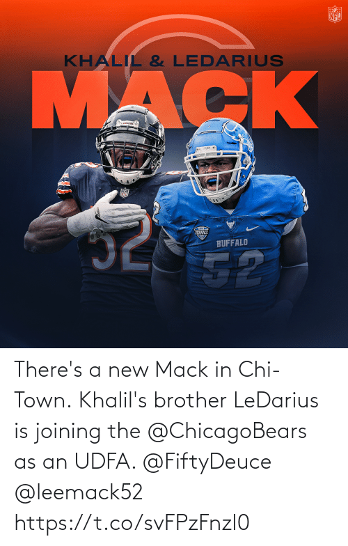 brother: There's a new Mack in Chi-Town.  Khalil's brother LeDarius is joining the @ChicagoBears as an UDFA. @FiftyDeuce @leemack52 https://t.co/svFPzFnzl0