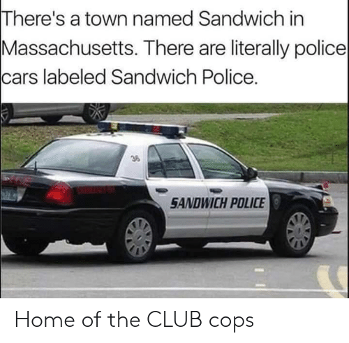 Massachusetts: There's a town named Sandwich in  Massachusetts. There are literally police  cars labeled Sandwich Police.  36  SANDWICH POLICE Home of the CLUB cops