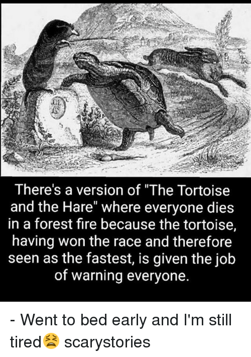 """Forest Fire: There's a version of """"The Tortoise  and the Hare"""" where everyone dies  in a forest fire because the tortoise,  having won the race and therefore  seen as the fastest, is given the job  of warning everyone. - Went to bed early and I'm still tired😫 scarystories"""
