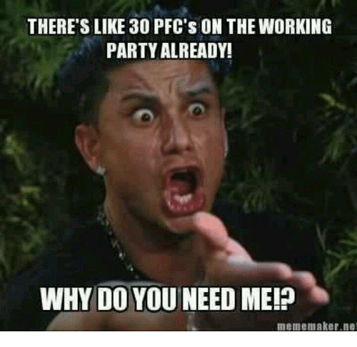 Party, Military, and Working: THERE'S LIKE 30 PFC'S ON THE WORKING  PARTY ALREADY!  WHY DO YOU NEED ME!  mememaker.ne