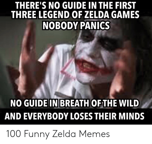 Funny Zelda: THERE'S NO GUIDE IN THE FIRST  THREE LEGEND OF ZELDA GAMES  NOBODY PANICS  NO GUIDE IN BREATH OF THE WILD  AND EVERYBODY LOSES THEIR MINDS 100 Funny Zelda Memes