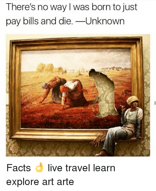 Memes, Travel, and 🤖: There's no way I was born to just  pay bills and die  Unknown Facts 👌 live travel learn explore art arte