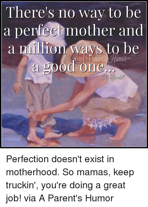 Parenting Humor: There's no way to be  a perfec mother and  a million Ways to be  a SOOd one Perfection doesn't exist in motherhood. So mamas, keep truckin', you're doing a great job! via A Parent's Humor