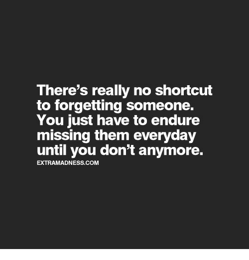 endure: There's really no shortcut  to forgetting someone.  You just have to endure  missing them everyday  until you don't anymore.  EXTRAMADNESS.COM