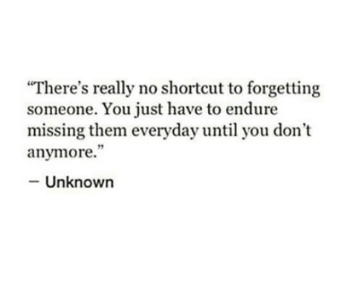 """endure: There's really no shortcut to forgetting  someone. You just have to endure  missing them everyday until you don't  anymore.""""  - Unknown"""