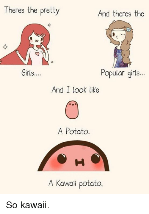 A Kawaii Potato: Theres the pretty  And theres the  Popular girls.  Girls....  And I look like  A Potato  H S  A Kawaii potato So kawaii.