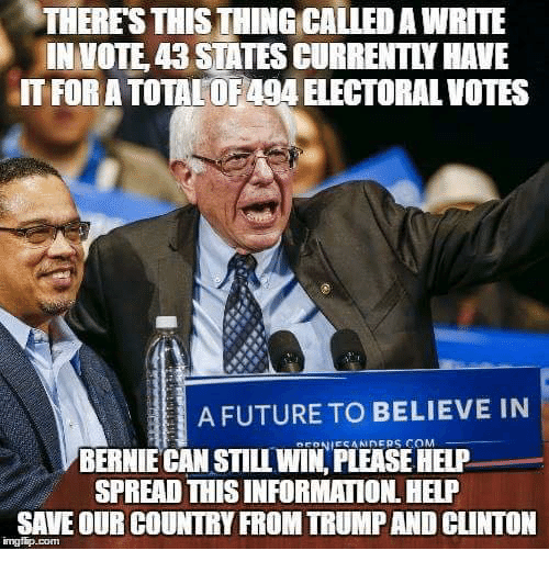 Trump: THERES THIS THINGCALLED A WRITE  IN VOTE, 43 STATES CURRENTLY HAVE  FOR A TOTALO E494 ELECTORAL VOTES  A FUTURE TO BELIEVE IN  BERNIE CAN STILL WIN, PLEASE HELP  SPREAD THISINFORMATION. HELP  SAVE OUR COUNTRY FROM TRUMP AND CLINTON
