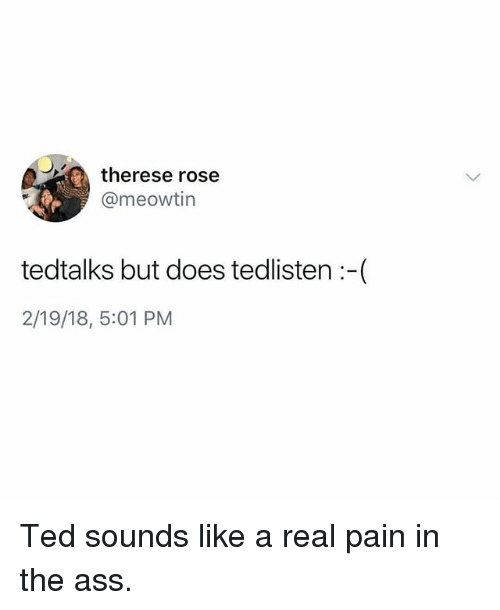 Pain In The Ass: therese rose  @meowtin  tedtalks but does tedlisten :-(  2/19/18, 5:01 PM Ted sounds like a real pain in the ass.