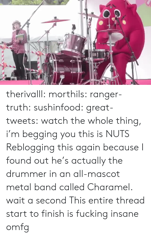 This Again: therivalll:  morthils:  ranger-truth:  sushinfood:  great-tweets:  watch the whole thing, i'm begging you  this is NUTS   Reblogging this again because I found out he's actually the drummer in an all-mascot metal band called Charamel.  wait a second   This entire thread start to finish is fucking insane omfg