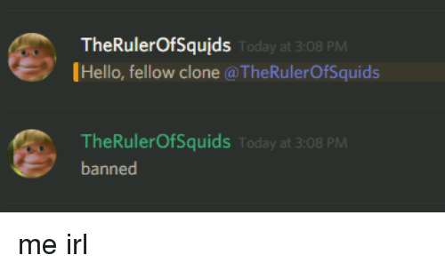 Hello, Today, and Irl: TheRulerOfSqujds  Hello, fellow clone @TheRulerOfSquids  Today at 3:08 PM  TheRulerOfSquids Today at 3:08 PM  banned