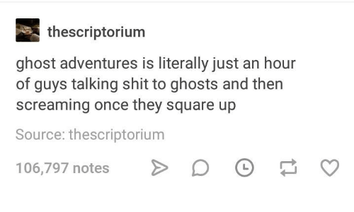 Square Up: thescriptorium  ghost adventures is literally just an hour  of guys talking shit to ghosts and then  screaming once they square up  Source: thescriptorium  106,797 notes