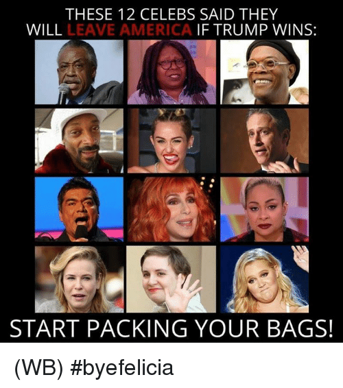 If Trump Wins: THESE 12 CELEBS SAID THEY  WILL  LEAVE AMERICA  IF TRUMP WINS:  START PACKING YOUR BAGS! (WB) #byefelicia