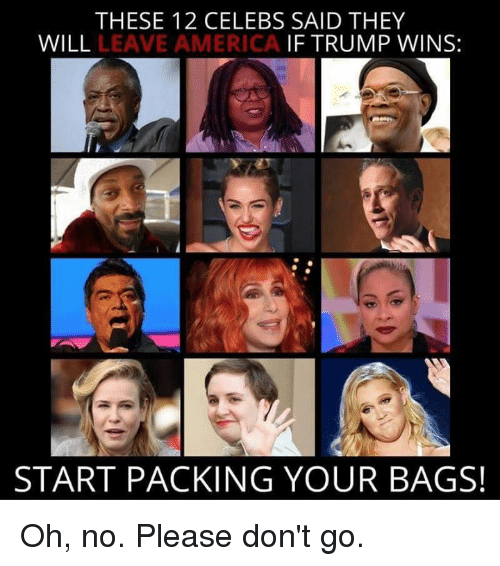 Trump Winning: THESE 12 CELEBS SAID THEY  WILL  LEAVE AMERICA IF TRUMP WINS:  START PACKING YOUR BAGS! Oh, no.  Please don't go.