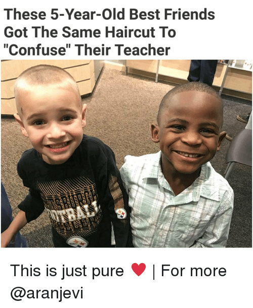 "Haircut, Memes, and Haircuts: These 5-Year-old Best Friends  Got The Same Haircut To  ""Confuse"" Their Teacher This is just pure ♥ 