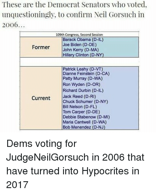 patty murray: These are the Democrat Senators who voted  unquestioningly, to confirm Neil Gorsuch in  20 o6  109th Congress, Second Session  Barack Obama (D-IL)  Former  Joe Biden (D-DE)  John Kerry (D-MA)  Hillary Clinton (D-NY  Patrick Leahy (D-VT)  Dianne Feinstein (D-CA)  Patty Murray (D-WA)  Ron Wyden (D-OR)  Richard Durbin (D-IL)  Current  Jack Reed (D-RI)  Chuck Schumer (D-NY)  Bill Nelson (D-FL)  Tom Carper (D-DE)  Debbie Stabenow (D-MI)  Maria Cantwell (D-WA)  Bob Menendez (D-NJ). Dems voting for JudgeNeilGorsuch in 2006 that have turned into Hypocrites in 2017