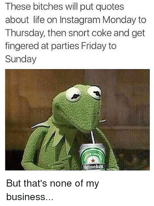 quotes about life: These bitches will put quotes  about life on Insta gram Monday to  Thursday, then snort coke and get  fingered at parties Friday to  Sunday  Heineken But that's none of my business...