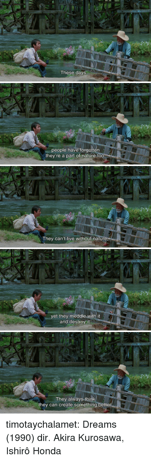 akira: These days   people have forgotten  they're a part of nature too   They can't live without nature   yet they meddle with it  and destroy it   They always think  they can create something better timotaychalamet:   Dreams (1990) dir. Akira Kurosawa, Ishirô Honda