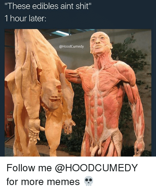 "Memes, Shit, and Relatable: ""These edibles aint shit""  1 hour later:  @HoodCumedy Follow me @HOODCUMEDY for more memes 💀"
