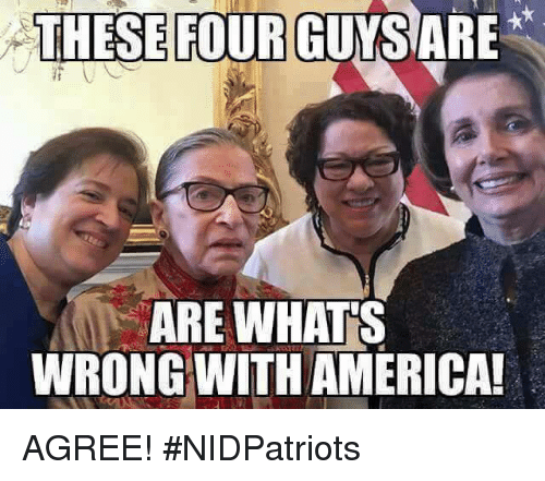 America, Memes, and 🤖: THESE FOUR  GUYSARE  ARE WHATS  WRONG WITH AMERICA AGREE! #NIDPatriots