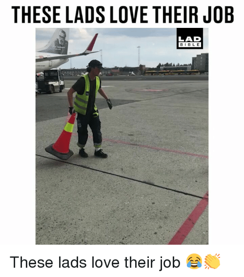 Love, Memes, and 🤖: THESE LADS LOVE THEIR JOB  LAD  BIBL E These lads love their job 😂👏