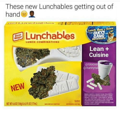 Lean, Gang, and Lunchables: These new Lunchables getting out of  hand()  Lunchables  Lunch, Roar& Score  GANG  Adventure  LUNCH COMBINATIONS  Lean +  Cuisine  @Glocxs  @Xannyta  NEW