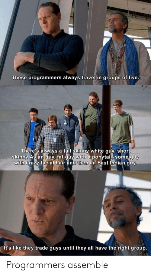 white guy: These programmers always travel in groups of five.  There's always a tall skinny white guy, short  skinny Asian guy, fat guy with a ponytail, some guy  with crazy facial hair and then an East Indian guy.  It's like they trade guys until they all have the right group. Programmers assemble